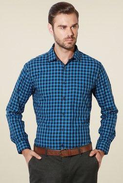 Van Heusen Aqua Blue & Black Slim Fit Checks Shirt