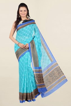 Jashn Turquoise Printed Cotton Saree