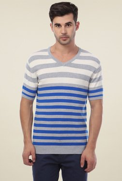 Van Heusen Light Grey & Blue Regular Fit T-Shirt