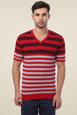 Van Heusen Red Regular Fit V-Neck T-Shirt