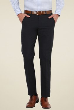 Peter England Black Slim Fit Flat Front Trousers