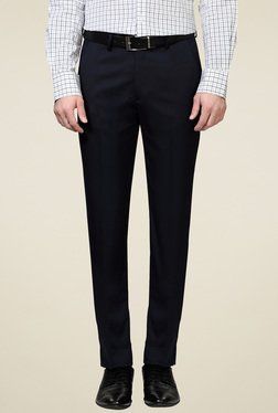 Peter England Navy Slim Fit Flat Front Trousers