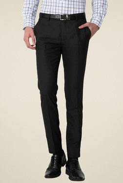 Peter England Black Ultra Slim Fit Flat Front Trousers