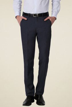 Peter England Dark Blue Mid Rise Slim Fit Trousers