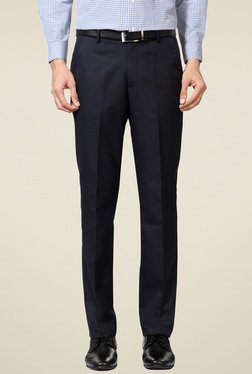 Peter England Navy Mid Rise Slim Fit Trousers