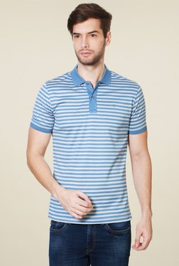 Van Heusen Steel Blue Striped Half Sleeves Polo T-Shirt