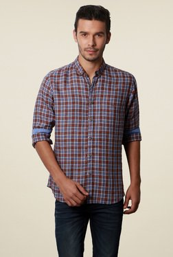 Van Heusen Brown & Blue Checks Slim Fit Checks Shirt
