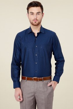 Van Heusen Navy Slim Fit Cotton Full Sleeves Shirt