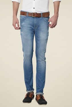 Van Heusen Blue Ultra Slim Fit Lightly Washed Jeans