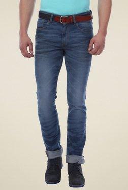 Van Heusen Blue Printed Regular Fit Mid Rise Jeans