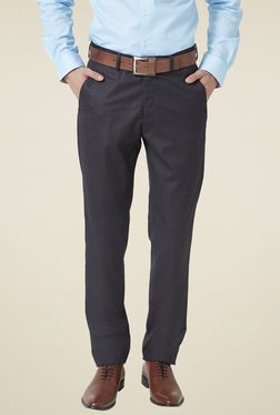 Peter England Grey Solid Slim Fit Solid Trousers
