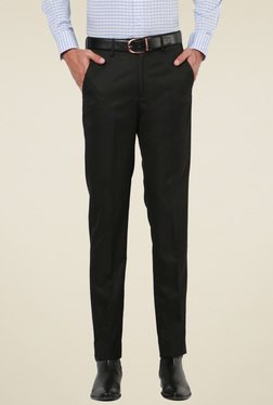 Peter England Black Mid Rise Slim Fit Flat Front Trousers