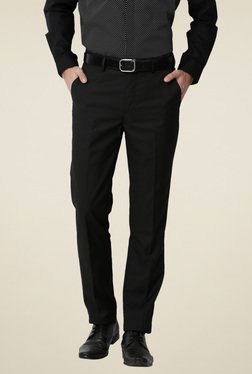 Peter England Black Slim Fit Mid Rise Solid Trousers