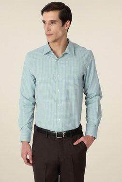 Peter England Lime Green Full Sleeves Checks Shirt