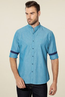 Van Heusen Blue Band Collar Cotton Shirt