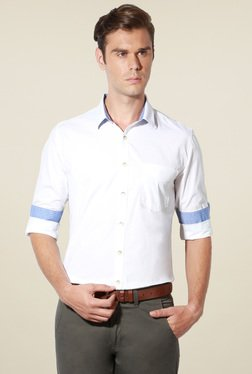 Van Heusen White Slim Fit Cotton Solid Shirt