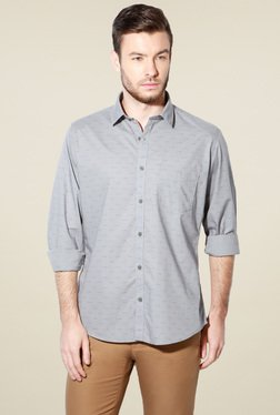 Van Heusen Light Grey Printed Cotton Shirt
