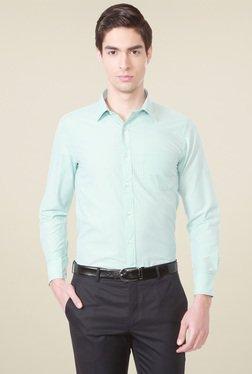 Peter England Tea Green Striped Shirt