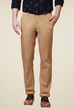 Allen Solly Brown Comfort Fit Cotton Trousers