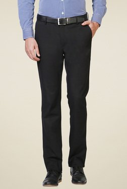 Allen Solly Black Slim Fit Flat Front Trousers