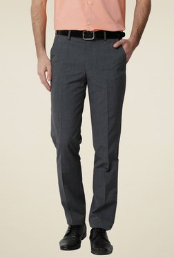 Peter England Grey Slim Fit Flat Front Mid Rise Trousers