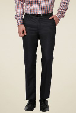 Peter England Grey Solid Slim Fit Flat Front Trousers