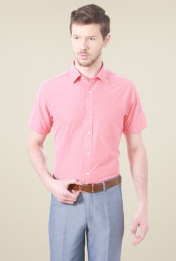 Peter England Pink Half Sleeves Checks Shirt