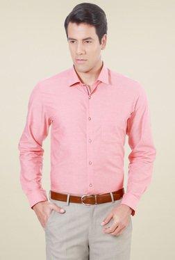 Peter England Peach Comfort Fit Shirt