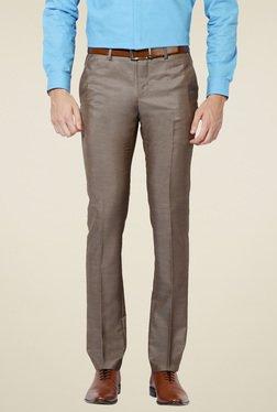 Van Heusen Brown Skinny Fit Flat Front Trousers