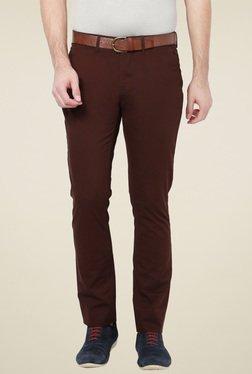 Van Heusen Dark Brown Slim Fit Cotton Trousers