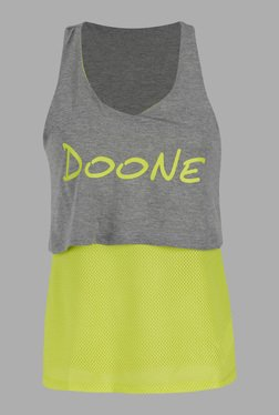 Doone By Sportzone Lime Green & Grey Training Top