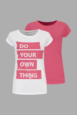 Doone By Sportzone Pink & White Training T Shirt (Pack Of 2)