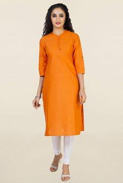 Aurelia Orange Solid Kurta