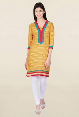 Jaipur Kurti Yellow Printed Polyester Kurti