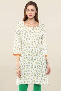 Jaipur Kurti White Floral Print Cotton Kurti