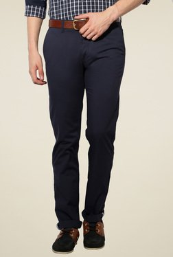 Van Heusen Navy Solid Mid Rise Slim Fit Cotton Trousers