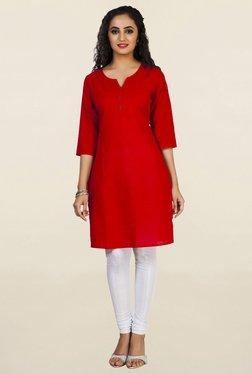 Aurelia Red Solid Kurti