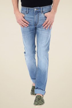 Flying Machine Light Blue Mid Rise Lightly Washed Jeans