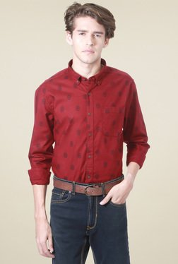 People Maroon Slim Fit Button Down Collar Shirt