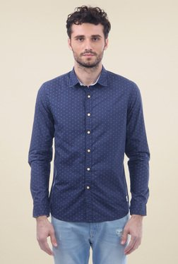 Flying Machine Navy Slim Fit Full Sleeves Shirt