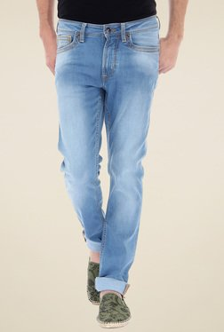 Flying Machine Light Blue Low Rise Lightly Washed Jeans
