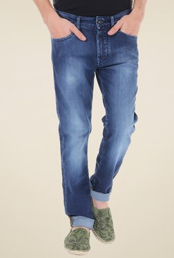 Flying Machine Blue Slim Fit Heavily Washed Jeans