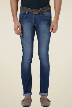 Peter England Blue Slim Fit Mid Rise Lightly Washed Jeans