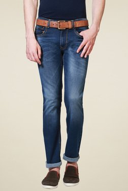 Peter England Blue Lightly Washed Mid Rise Cotton Jeans