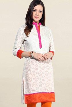 Jaipur Kurti White Paisley Print Jacquard Cotton Kurti