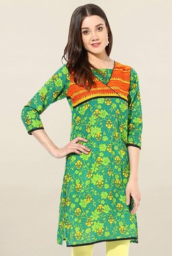 Jaipur Kurti Green Floral Print Cotton Kurti