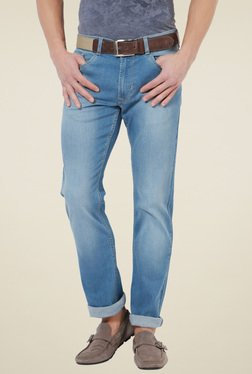 Peter England Light Blue Slim Fit Mid Rise Jeans