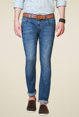 Peter England Blue Ultra Slim Fit Cotton Jeans