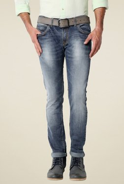 Peter England Light Blue Ultra Slim Fit Mid Rise Jeans