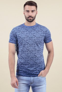 Pepe Jeans Blue Slim Fit Printed Cotton T-Shirt